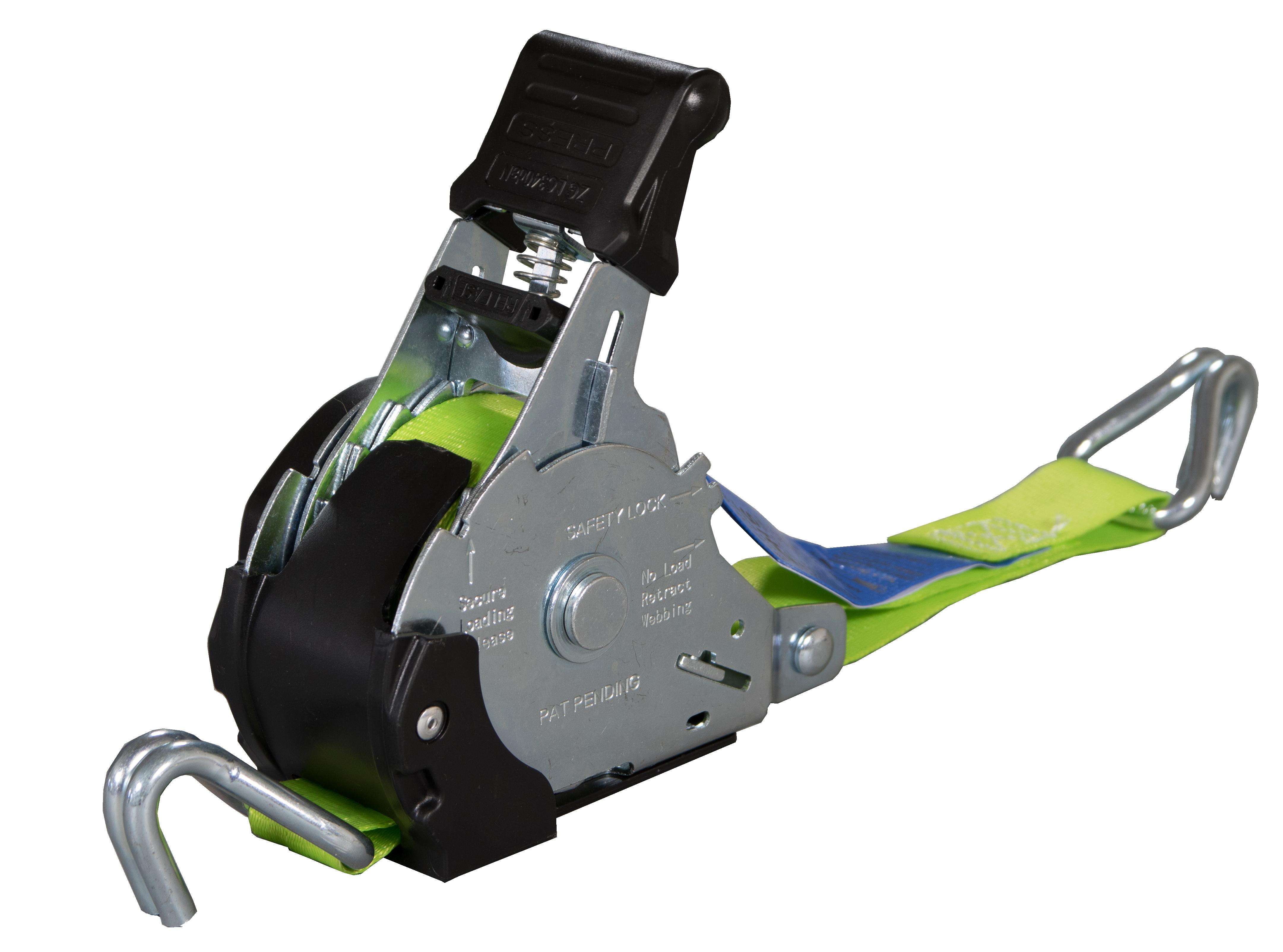 Spanngurt ZurrMatic mit Aufrollmechanik, 25 mm Bandbreite, Spitzhaken